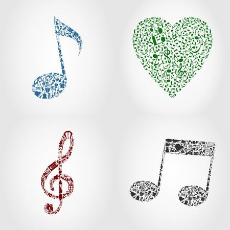 chiave di violino: Icona su un tema musicale. Una illustrazione vettoriale Vettoriali