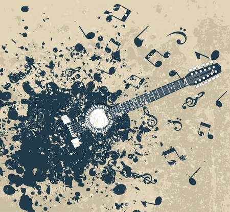 Guitar on a retro a background with notes. A vector illustration