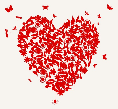 Heart from butterflies and a flower of red colour. A vector illustration Illustration