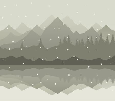 idzie: Śnieg idzie na górskie jezioro. Ilustracji wektorowych