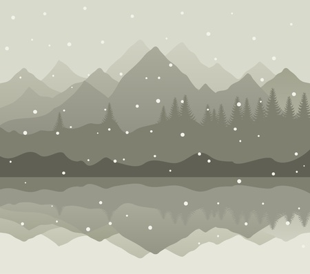 headwaters: Snow goes on mountain lake. A vector illustration