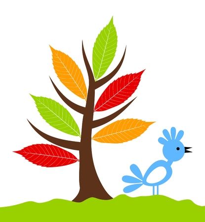 birds scenery: Icon of a tree growing from the earth.