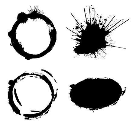 splotches: Abstract black blots.