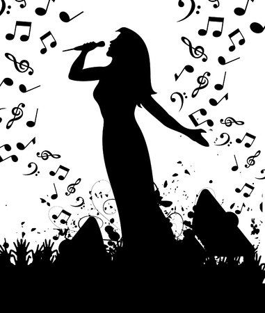popular: The woman the singer sings at a concert.  Illustration