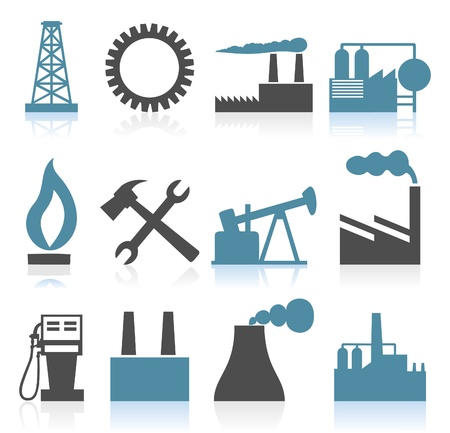 factory icon: Collection of icons on a theme the industry.  Illustration