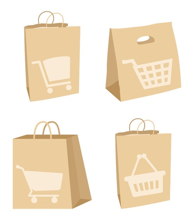 Set of icons of packages for purchases.  Vector