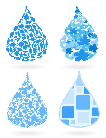 Blue drop of water on a white background.  Vector
