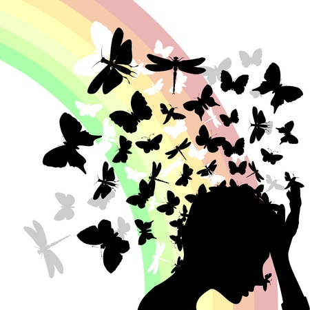 thoughtfulness: From a head of the girl butterflies take off.