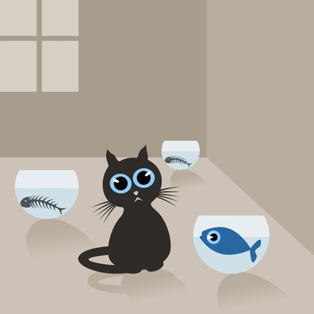 large group of object: Cat in the house and fish in an aquarium.