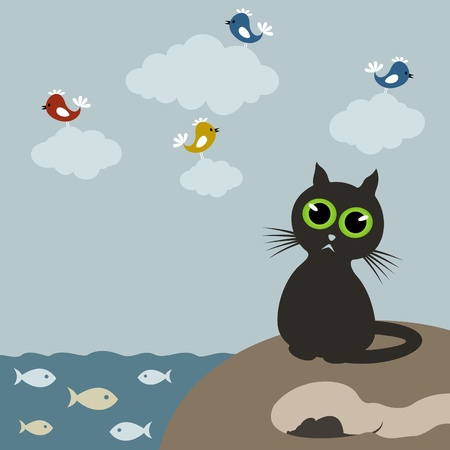 Cat on the nature fish and a bird Illustration