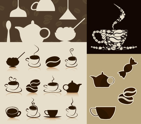 Meeting of subjects on a coffee theme.  Vector