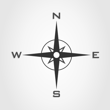 east: Compass and parts of the world on a white background
