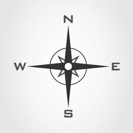 southwest: Kompas en delen van de wereld op een witte achtergrond