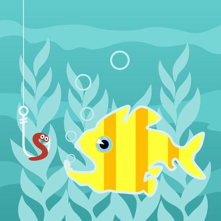 Predatory fish wishes to swallow a worm on a hook.  Vector