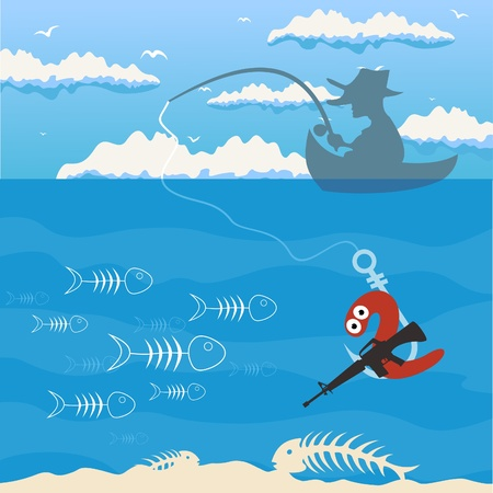 The man by a boat fishes. Vector