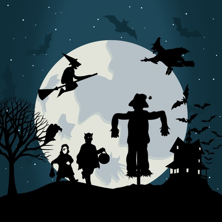 Illustration on a theme of holiday Halloween.  Vector