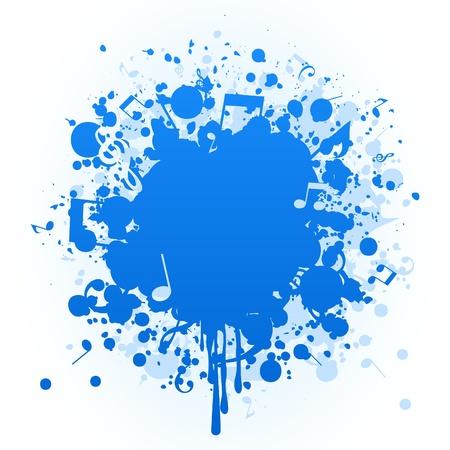 chiave di violino: Macchia di una vernice blu e la nota. Vettoriali