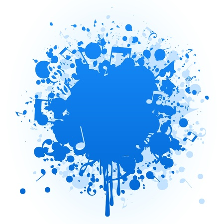 Stain of a blue paint and the note. Vector