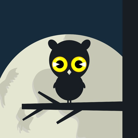 The owl sits on a tree branch.  Illustration