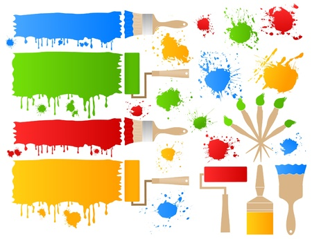 splotches: Painting brushes leave blots.