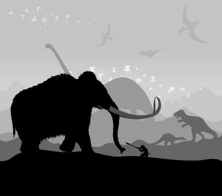 mammoth: Hunting of animals during prehistoric times. Illustration