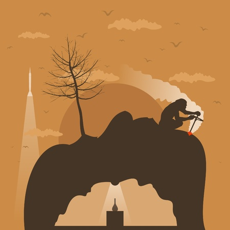 The person makes fire on mountains.  Vector
