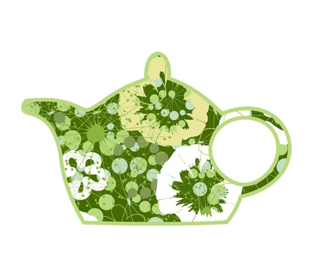 Green teapot from plants and a flower.  Vector