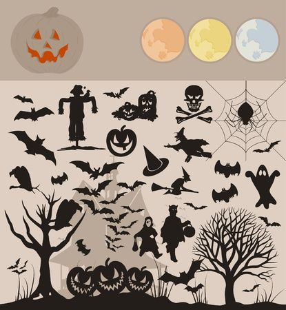 Collection on a holiday theme halloween. A vector illustration Vector