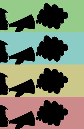 The woman speaks in a megaphone. A vector illustration Vector