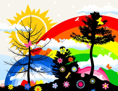 sunset painting: The sun and rainbow in summer wood. A vector illustration Illustration