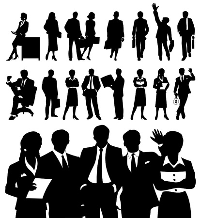 conference table: Black silhouettes of businessmen. Illustration