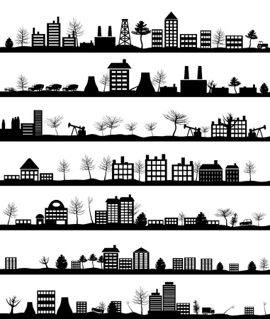suburbs: Collection of city landscapes. Illustration