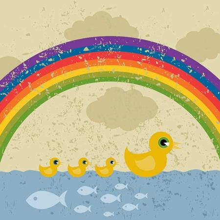 pato de hule: El pato y patitos flotan sobre el agua.