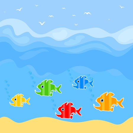 Fishes predators float in the sea. Stock Vector - 10850347