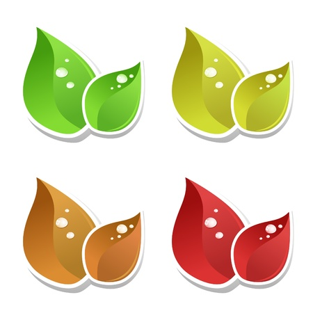 Set leaf a tree on a grey background. Stock Vector - 10850350