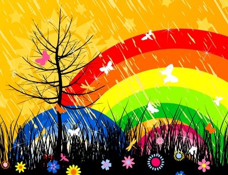 The sun and rainbow in summer wood. Vector
