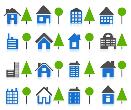 suburb: Set of icons of houses and tree. A vector illustration