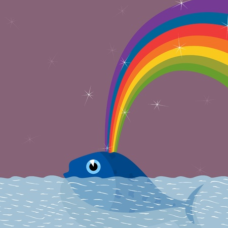 From a whale the rainbow pours out. A vector illustration Vector