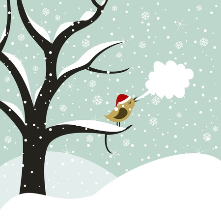 Bird on a tree in Christmas. A vector illustration Illustration