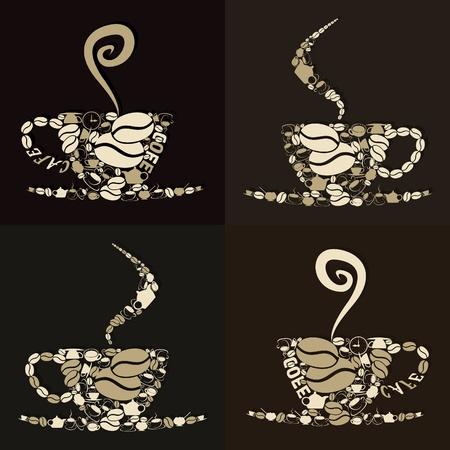 planta de cafe: Juego de tazas de café con un cigarrillo. Una ilustración vectorial Vectores