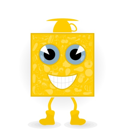 The food a cartoon the character smiles. A vector illustration Vector