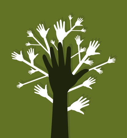 Hand a tree on a green background. A vector illustration Stock Vector - 10962567