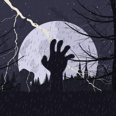tombes: La main sort d'un tombeau sur un cimeti�re. Une illustration vectorielle