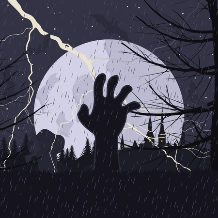 The hand gets out of a tomb on a cemetery. A vector illustration