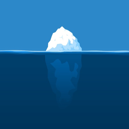 The white iceberg floats at ocean. A vector illustration