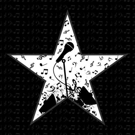 musicos: Estrella de la m�sica sobre un fondo negro. Una ilustraci�n vectorial Vectores