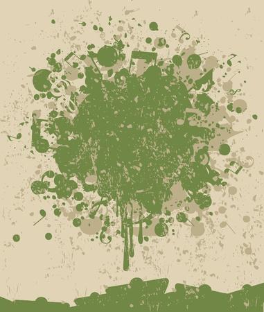chiave di violino: Macchia di una vernice verde e la nota. Una illustrazione vettoriale Vettoriali