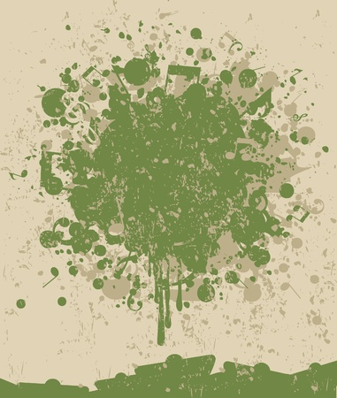 Stain of a green paint and the note. A vector illustration Vector