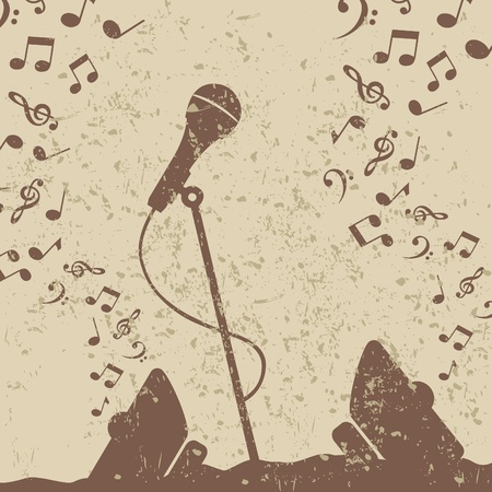 telecaster: Retro a microphone on a grey background. A vector illustration Illustration
