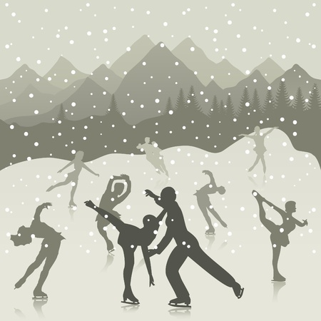headwaters: Figure skating on lake a skating rink. A vector illustration Illustration